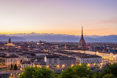 Cityscape of Torino (Turin, Italy) at dusk with colorful sky Stock Image