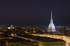 Cityscape of Torino (Turin, Italy) by night with starry sky Stock Images