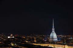 Cityscape of Torino (Turin, Italy) by night with starry sky Stock Image