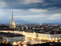 Cityscape of Torino Turin, Italy at sunset cloudy sky Royalty Free Stock Images