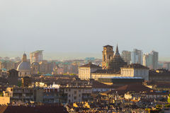 Cityscape of Torino (Turin, Italy) at sunset, historical buildings stock photos