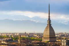 Cityscape of Torino (Turin, Italy) at sunset with storm clouds Stock Images
