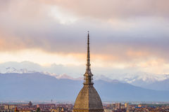 Cityscape of Torino (Turin, Italy) at sunset with storm clouds Royalty Free Stock Photo