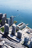 Cityscape of Toronto Canada. Above View of Tall Building Cityscape and Transportation near Lake Ontario in Toronto Canada Stock Image