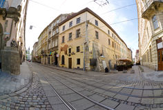 Urban neighborhoods photographed with fisheye Stock Photo