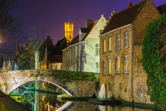 Cityscape with a tower Belfort and the Green canal Stock Image