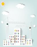 Cityscape with tower cranes. Vector cityscape with tower cranes Royalty Free Stock Photos
