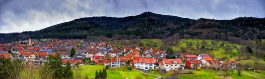 Cityscape of the town of Loffenau Schwarzwald germany. Panoramic cityscape of the town of Loffenau in Schwarzwald in the state of Baden-Württemberg in stock image