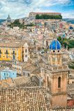 The cityscape of the town of Ragusa Ibla in Sicily in Italy Stock Image