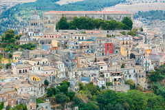 The cityscape of the town of Ragusa Ibla in Sicily in Italy Royalty Free Stock Photos