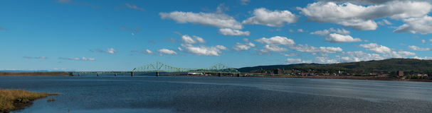 Cityscape with Traffic Bridge and sunny day Stock Image