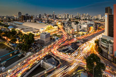 Cityscape And Traffic On Road Near Bangkok Railway Station At Tw Royalty Free Stock Image