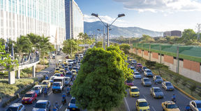 Cityscape and traffic on the road IN Poblado district, Medellin Stock Photography