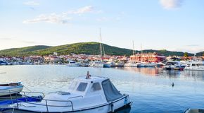 The Tribunj cityscape, Croatia. The cityscape of Tribunj at summer evening stock image