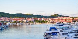 The Tribunj cityscape, Croatia. The cityscape of Tribunj at summer evening royalty free stock image