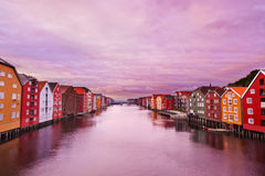 Cityscape of Trondheim Norway at sunset Stock Photo