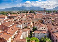 Cityscape Tuscany Italien för Lucca gammal stadtak Royaltyfri Bild