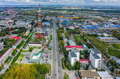Cityscape with TV tower in Tyumen. Russia Royalty Free Stock Photo