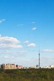Cityscape with TV tower and urban park in Moscow Stock Images
