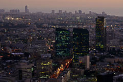 Cityscape at twilight  of the city of Tel Aviv Royalty Free Stock Photography