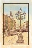 Cityscape. Ukraine, Lviv, vintage cityscape with tram royalty free illustration