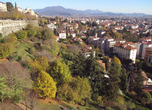 Cityscape of Upper Town and Lower Town in Autumn Sunny Day, Bergamo, Italy Royalty Free Stock Images