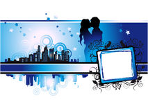 Cityscape, urban frame, couple Royalty Free Stock Photography