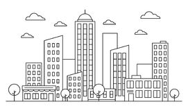 Cityscape, urban landscape skyline concept with buildings, scyscrapers, trees and clouds. Vector outiline. Editable stroke. vector illustration