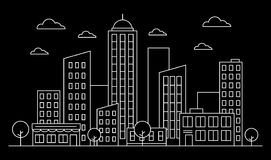 Cityscape, urban landscape skyline concept with buildings, scyscrapers, trees and clouds. White contour. Vector illustration. stock illustration