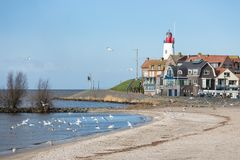 Cityscape of Urk seen from the beach Stock Photography