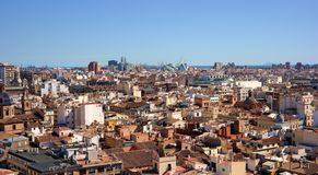 Cityscape of Valencia city. View of Valencia city centre form tower Royalty Free Stock Image