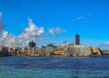 Cityscape of Valletta, the capital city of Malta, in sunny day with blue sky in sunny day, EU, Europe stock images