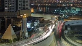 Cityscape van Ajman van dak bij nacht timelapse Ajman is het kapitaal van de emiraat van Ajman in de Verenigde Arabische Emiraten Royalty-vrije Stock Afbeelding