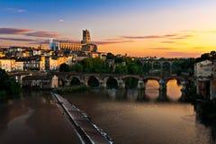 Cityscape van Albi, Frankrijk Stock Fotografie