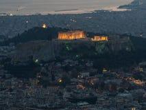 Cityscape van Athene met Akropolis als belangrijkst onderwerp stock foto's