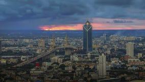 Cityscape van Bangkok bij schemering Stock Afbeelding