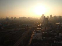 Cityscape van Bangkok in de ochtend stock foto
