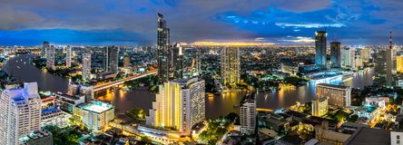 Cityscape van Bangkok stedelijk panoramalandschap Thailand stock foto