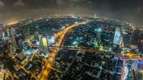 Cityscape van Bangkok Tijdtijdspanne Fisheye stock videobeelden
