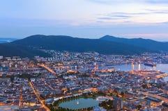 Cityscape van Bergen - Noorwegen Royalty-vrije Stock Foto's