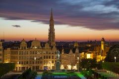 Cityscape van Brussel van Monts des Arts stock afbeeldingen