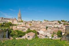 Cityscape van centrale heilige-Emilion Royalty-vrije Stock Foto