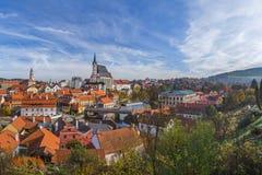 Cityscape van Ceskykrumlov in Tsjechische Republiek Stock Foto