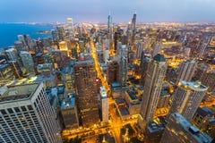 Cityscape van Chicago bij kust stock fotografie