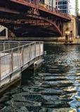 Cityscape van Chicago in de rivier tijdens gezien van riverwalk wordt weerspiegeld die Stock Foto's