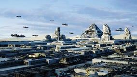 Cityscape van conceptenkaïro Egypte Scifi vervoerluchtschip van de toekomst Stock Fotografie