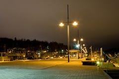 Cityscape van de avond van Lahti, Finland stock fotografie