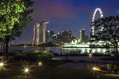Singapore bij nacht Royalty-vrije Stock Foto's