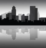 Cityscape van de binnenstad bij schemer royalty-vrije illustratie