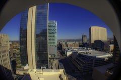 Cityscape van de binnenstad en wolkenkrabbersmening royalty-vrije stock foto's